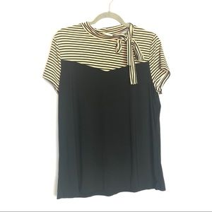 Diana Belle Bow Collar  Tie Cocktail Black Top. XL